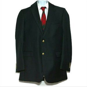 Jos A Bank Wool Blazer Black Gold Tone Buttons